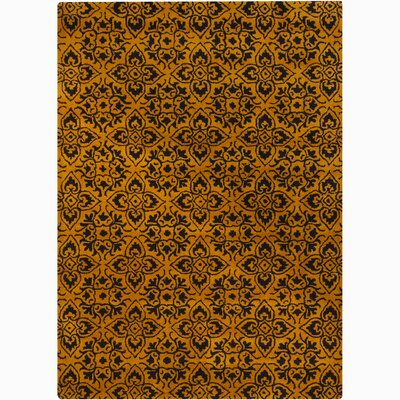 Gilda Gold/Yellow Floral Area Rug Rug Size: Rectangle 5 x 76