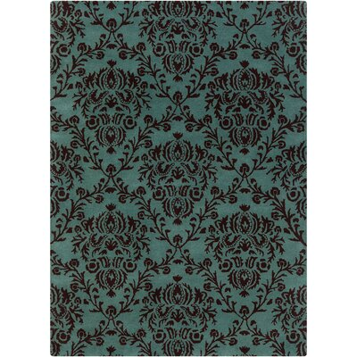 Dollins Green/Black Floral Area Rug Rug Size: 5 x 7