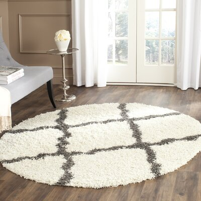 Charmain Ivory/Dark Gray Area Rug Rug Size: Square 6