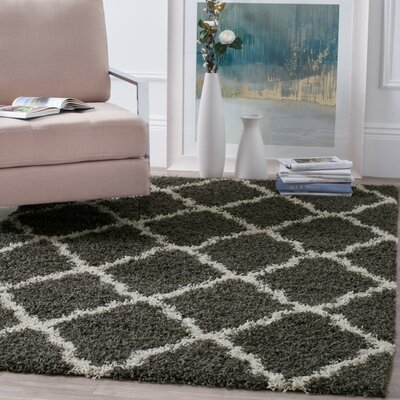 Charmain Dark Gray/Ivory Area Rug Rug Size: Rectangle 6 x 9