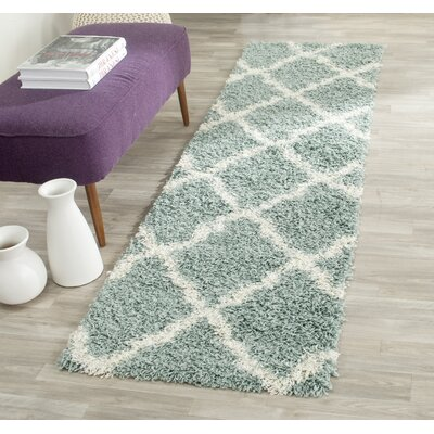 Charmain Light Blue/Ivory Area Rug Rug Size: Round 6