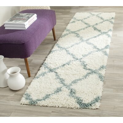 Charmain Ivory/Light Blue Area Rug Rug Size: Round 6