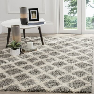 Charmain Gray/Ivory Area Rug Rug Size: Rectangle 6 x 9