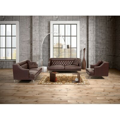 Gertz 5 Piece Leather Living Room Set