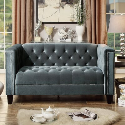 Broughtonville Tufted Chesterfield Loveseat Color: Grey
