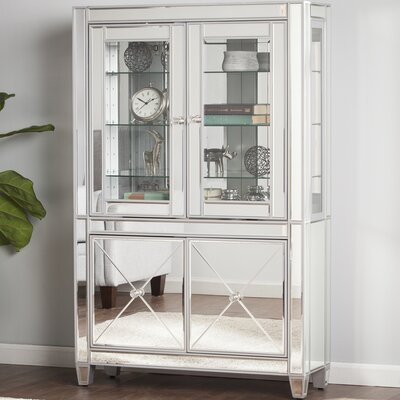 Adriana Mirrored Lighted Curio Cabinet