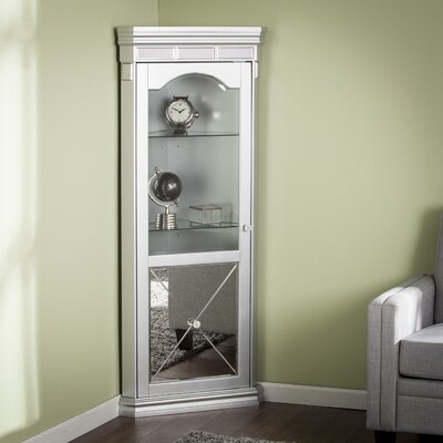 Adriana Mirrored Lighted Corner Curio Cabinet