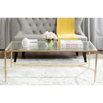 Boville Coffee Table Table Top Color: Clear, Table Base Color: Gold