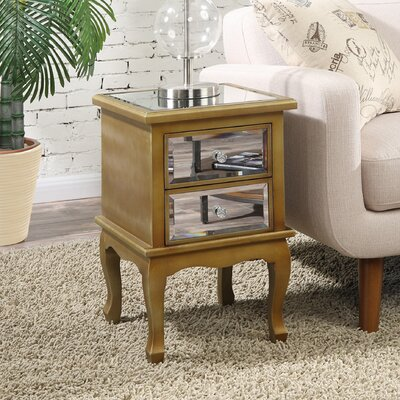 Romig 2 Drawer Mirrored End Table Finish: Gold