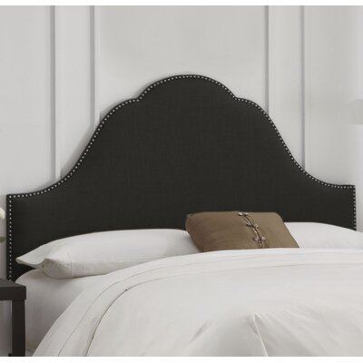 Rosecrans Nail Button Arch Upholstered Panel Headboard Size: Full, Color: Linen Black