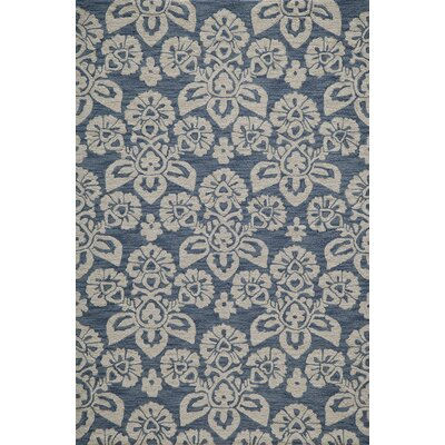 Shinault Hand-Hooked�Navy Area Rug Rug Size: Rectangle 36 x 56