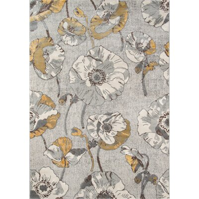 Cherell Floral Gray Area Rug Rug Size: Rectangle 93 x 126