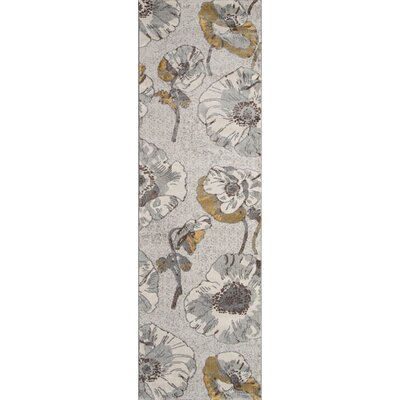 Cherell Floral Gray Area Rug Rug Size: Runner 23 x 76