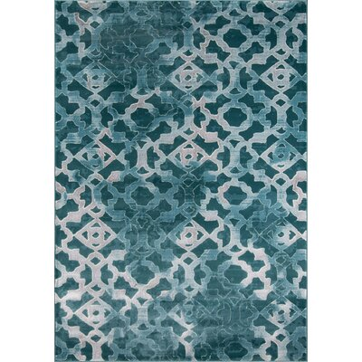 Ozzy Teal/Gray Area Rug Rug Size: 86 x 116