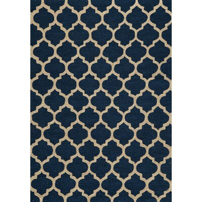 Frank Hand-Hooked Navy Area Rug Rug Size: 5 x 7