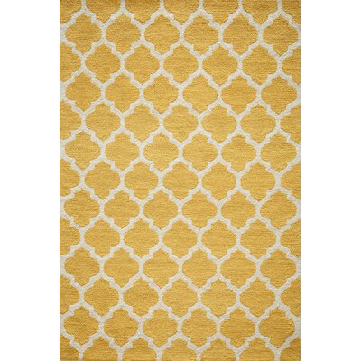 Frank Hand-Hooked Yellow Area Rug Rug Size: Rectangle 76 x 96