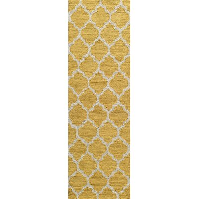 Frank Hand-Hooked Yellow Area Rug Rug Size: Runner 23 x 76