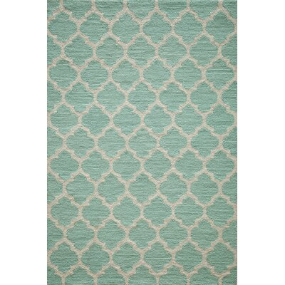 Frank Hand-Hooked Sky Blue Area Rug Rug Size: 36 x 56