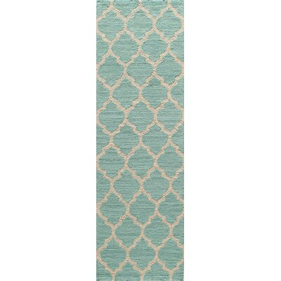 Frank Hand-Hooked Sky Blue Area Rug Rug Size: Rectangle 76 x 96