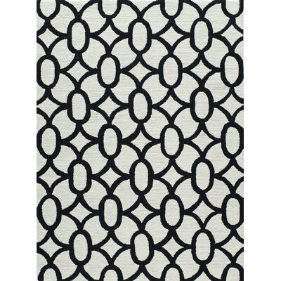 Agnese Geometric Hand-Hooked Black Area Rug Rug Size: Rectangle 5 x 7