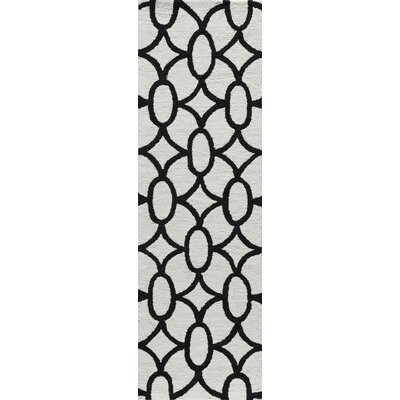 Agnese Geometric Hand-Hooked Black Area Rug Rug Size: Runner 23 x 76