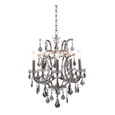 Newell 5-Light Crystal Chandelier Finish: Raw Steel, Shade Color: Grey