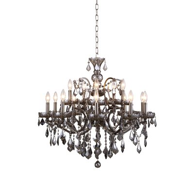 Newell 15-Light Crystal Chandelier Finish: Polished Nickel, Shade Color: Grey