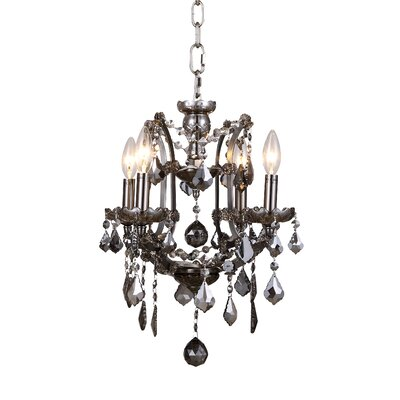 Newell 4-Light Crystal Chandelier Finish: Rustic Intent, Shade Color: Grey