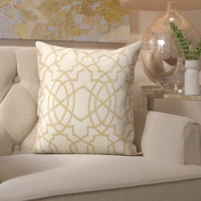 Sibylla Square Throw Pillow Color: Ivory/Gold