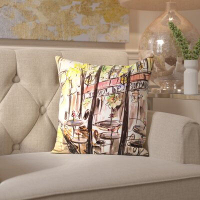 Watkinsville Paris Cafe Throw Pillow Size: 16 H x 16 W x 2 D