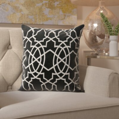 Sibylla Square Throw Pillow Color: Black/Silver