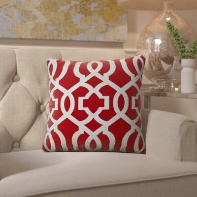 Isolda Geometric Jute Throw Pillow Color: Red