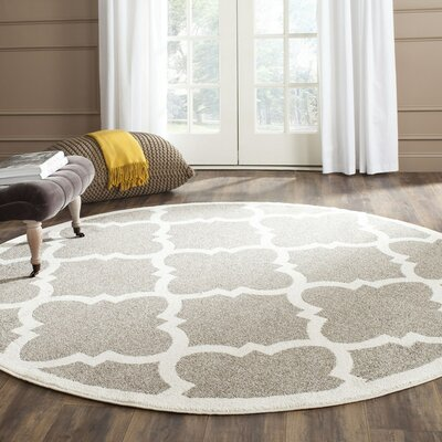 Levon Dark Grey/Beige Indoor/Outdoor Area Rug Rug Size: Round 7