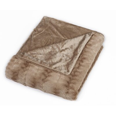 Florencio Luxe Mink Fur Throw Blanket Color: Tan, Size: King
