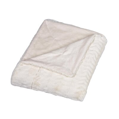 Florencio Luxe Mink Fur Throw Blanket Color: Cream, Size: Full / Queen
