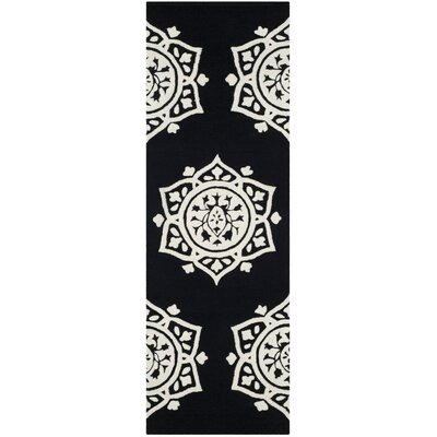 Romford Hand-Tufted Black Area Rug Rug Size: Runner 23 x 7
