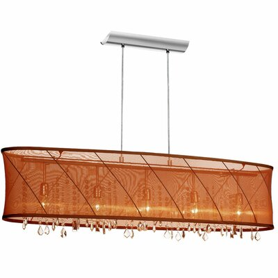 Hackford 4-Light Kitchen Island Pendant Shade Color: Brown / Rust