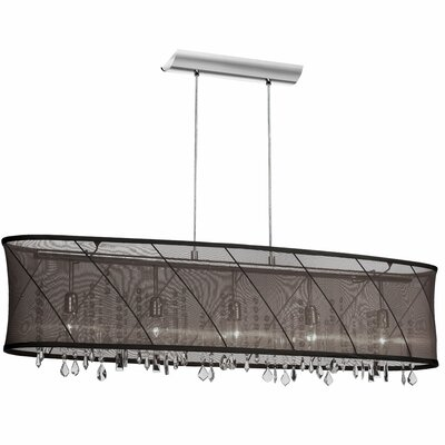 Hackford 4-Light Kitchen Island Pendant Shade Color: Black / Silver