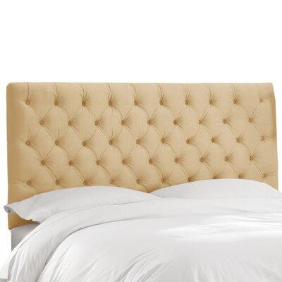 Zanuck Tufted Lush Velvet Upholstered Panel Headboard Size: King, Upholstery Color: Buckwheat