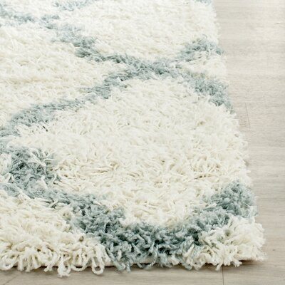Charmain Ivory/Light Blue Area Rug Rug Size: Rectangle 2-3 X 12