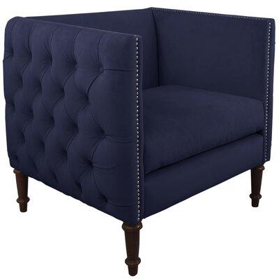 Zanuck Fabric Nail Button Arm Chair Color: Navy