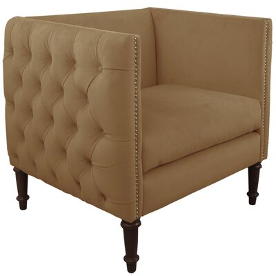 Lyric Nail Button Armchair Upholstery: Regal Sand, Nailhead Detail: Brass Nailhead
