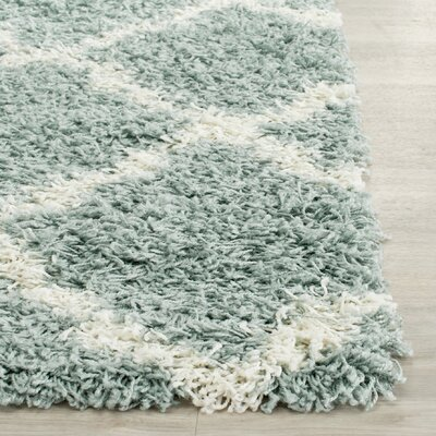 Charmain Light Blue/Ivory Area Rug Rug Size: Rectangle 2-3 X 12