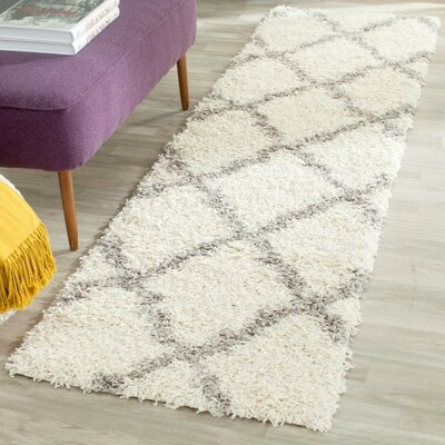 Alice Ivory/Gray Area Rug Rug Size: Runner 23 x 10