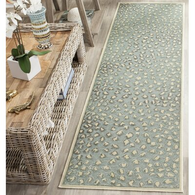 Maspeth Cream/Spruce Area Rug Rug Size: Runner 22 x 8