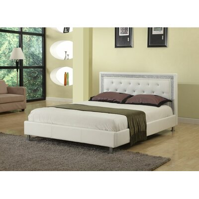 Elliana Upholstered Platform Bed Size: California King, Color: White