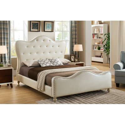 Ackman Upholstered Platform Bed Size: King, Color: Ivory
