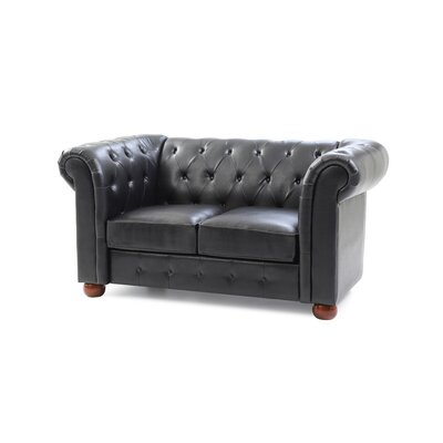 Katherina Chesterfield Loveseat Upholstery: Black