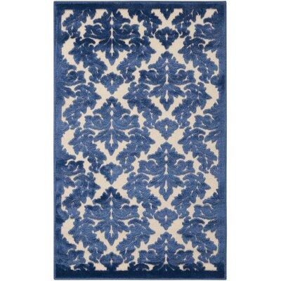 Hartz Ivory/Blue Area Rug Rug Size: 36 x 56