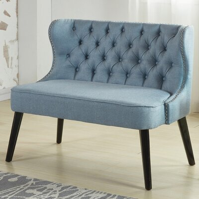 Aguayo Tufted Wing Back Settee Bench Upholstery: Light Blue